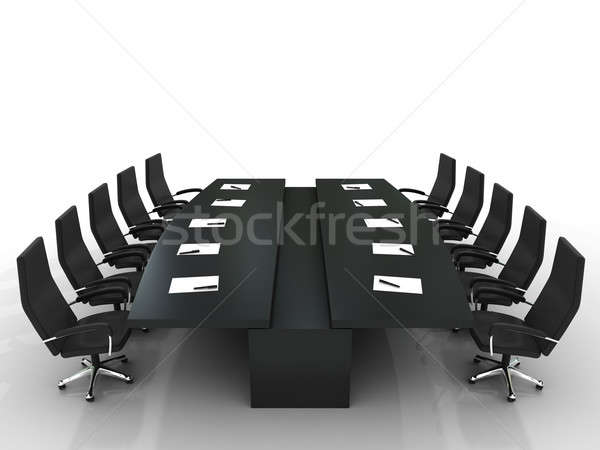 conference table and chairs with papers and pens Stock photo © AptTone