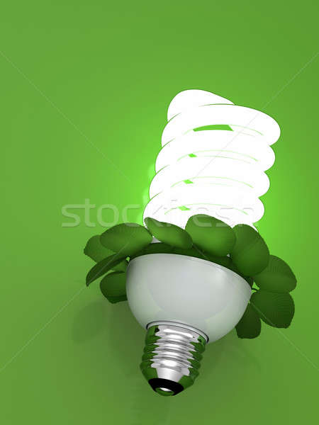 Stock photo: concept bulb energy saving fluorescent with leaves