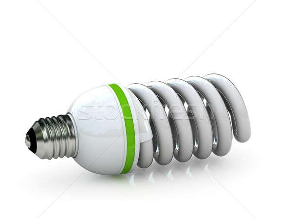 Stock fotó: Villanykörte · energia · takarékosság · fluoreszkáló · izolált · fehér