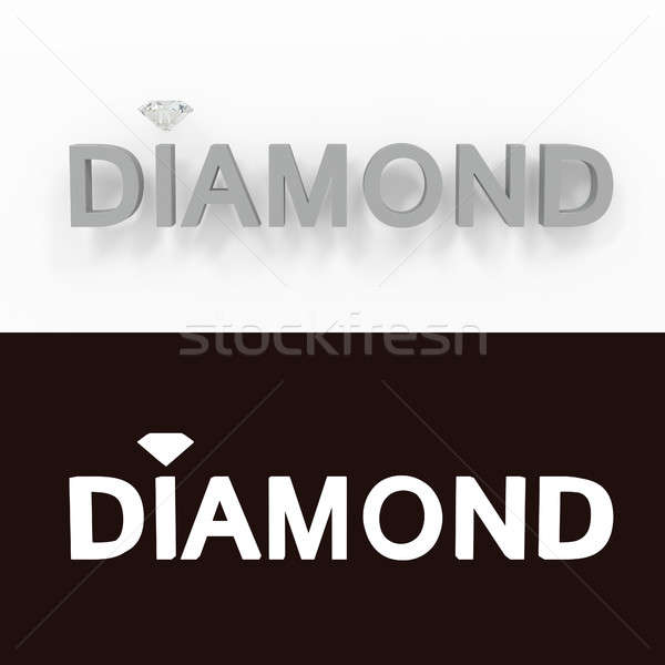 Diamond - gray text on a white background - 3D rendered royalty free stock picture. Stock photo © AptTone