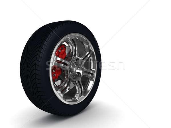 Voiture roue acier réflexions blanche élevé Photo stock © AptTone