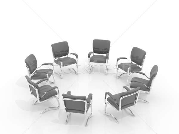 Stoelen kleine groep geïsoleerd witte kantoor kamer Stockfoto © AptTone