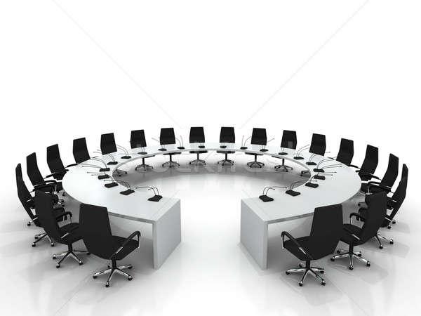 Konferencia asztal székek izolált fehér iroda Stock fotó © AptTone