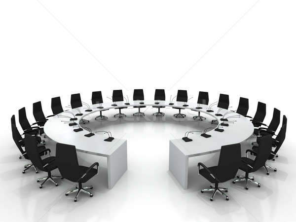 Conférence table chaises isolé blanche bureau Photo stock © AptTone