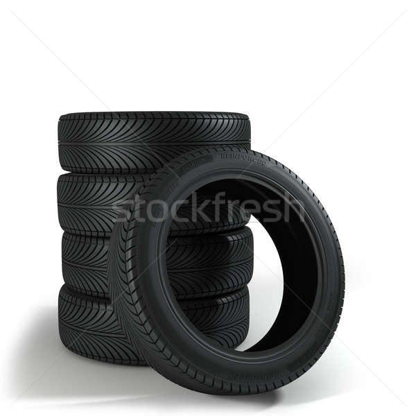Stock photo: Five Wheels over the white background.