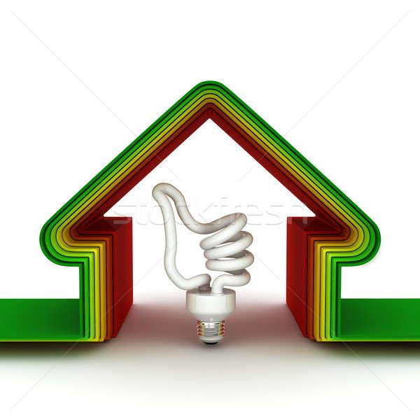 Energii domu oszczędność domu skali 3d Zdjęcia stock © AptTone