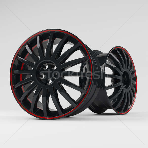 Aluminum black wheel image 3D  high quality rendering. White picture figured alloy rim for car.  Stock photo © AptTone