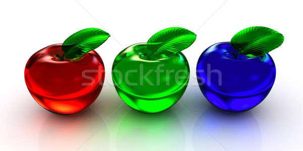 3D jabłka odizolowany biały niebieski czerwony Zdjęcia stock © AptTone