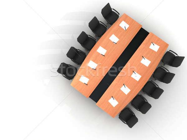 Conferenza tavola sedie giornali penne isolato Foto d'archivio © AptTone