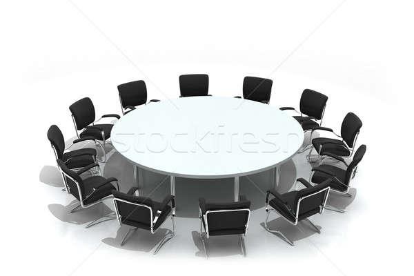 Conferentie tabel stoelen geïsoleerd witte business Stockfoto © AptTone