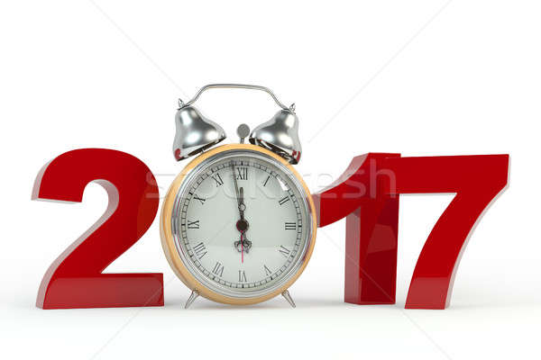 3D rendering 2017 Happy New Year background with old clock. Stock photo © AptTone