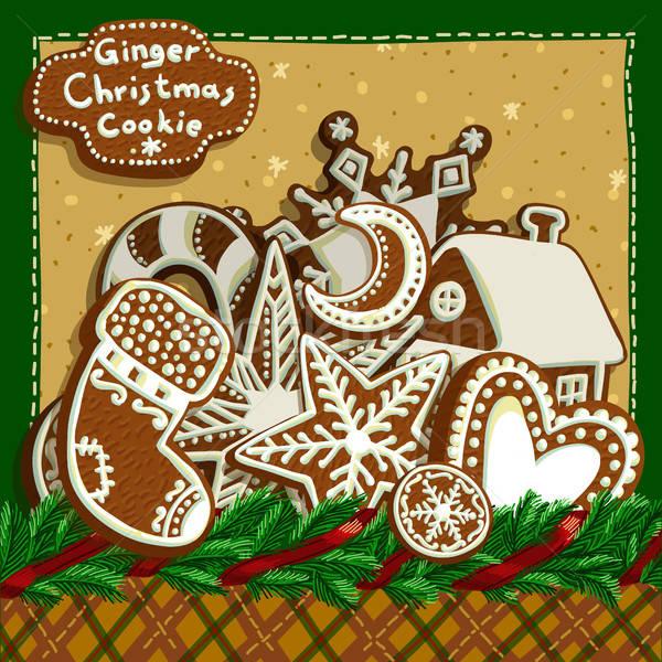Natale pan di zenzero decorato rami Foto d'archivio © Aqua