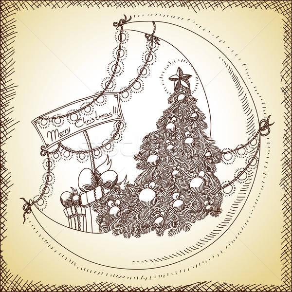 Foto stock: Natal · ilustração · lata · usado · fundo · papel · de · parede
