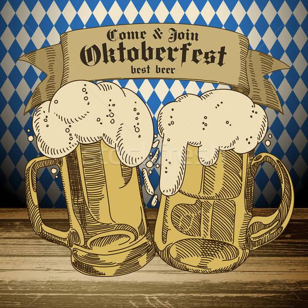 Birra oktoberfest illustrazione può usato bar Foto d'archivio © Aqua