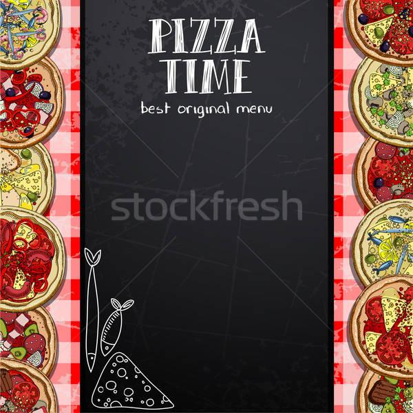 Menú diseno pizzería patrón fotos diferente Foto stock © Aqua