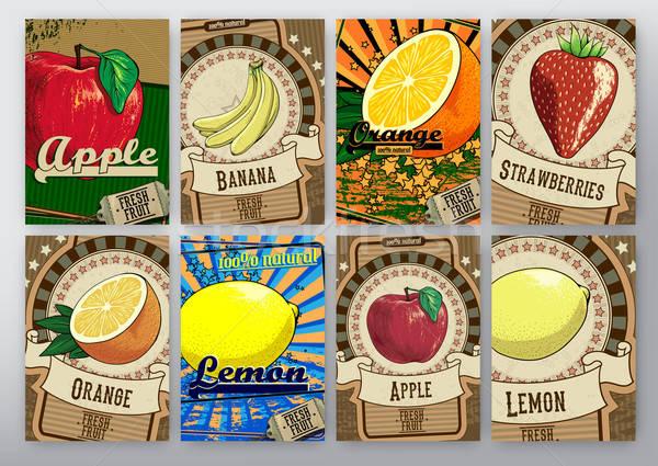 果物 セット ラベル 異なる グレー 紙 ストックフォト © Aqua