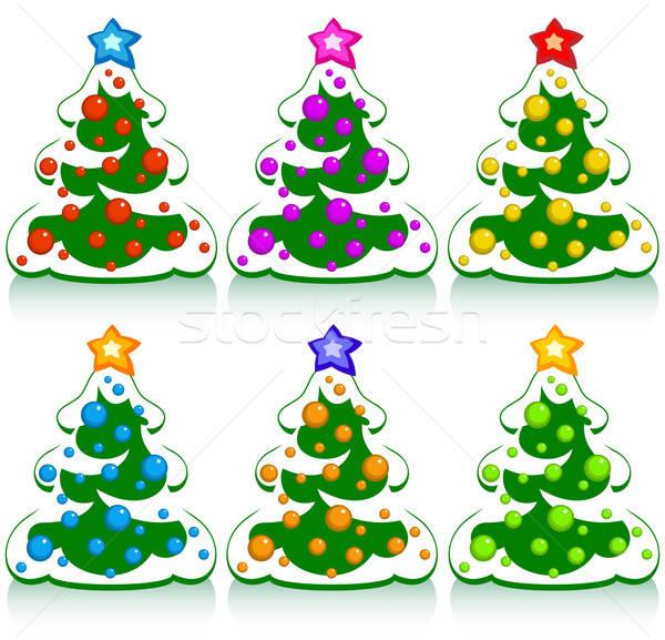 Szett karácsony fenyő illusztráció hasznos designer Stock fotó © Aqua