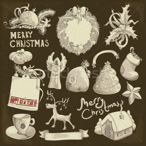 Foto d'archivio: Set · Natale · elementi · illustrazione · può · usato