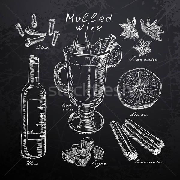 Restaurant menu tableau noir vin épices Photo stock © Aqua