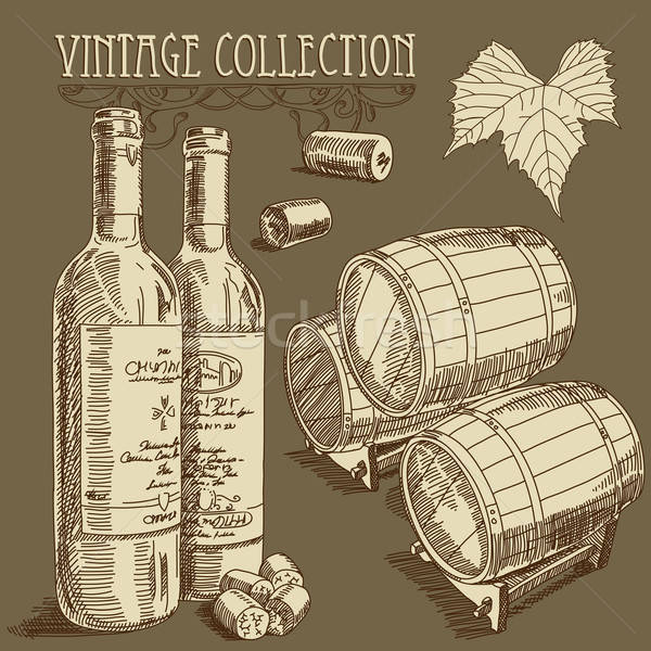 Foto stock: Vinho · coleção · ilustração · vidro · beber · desenho