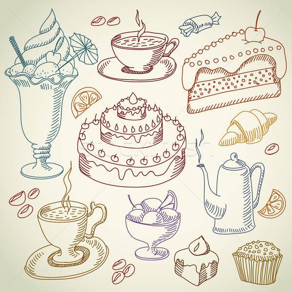 Café sobremesa desenho doces ilustração Foto stock © Aqua