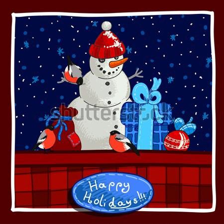 Noël bannière design bonhomme de neige oiseaux Photo stock © Aqua