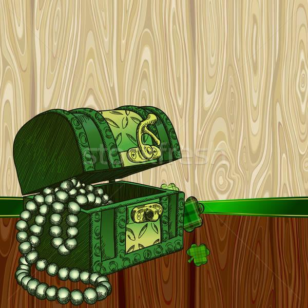 Folha trevo peito verde retro desenho Foto stock © Aqua