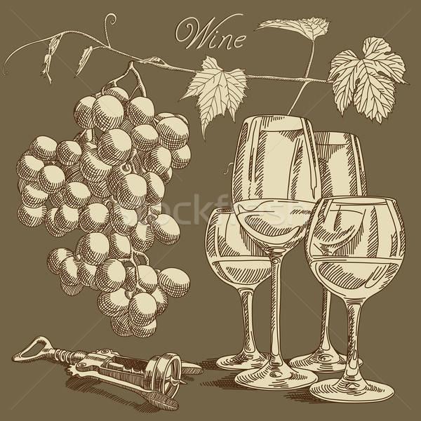 Foto stock: Vinho · coleção · ilustração · vidro · beber · álcool