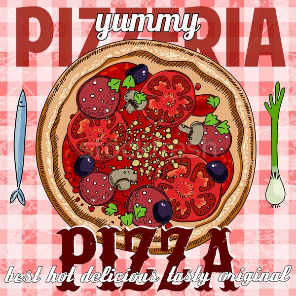 Quente pizza anúncio imagem Foto stock © Aqua