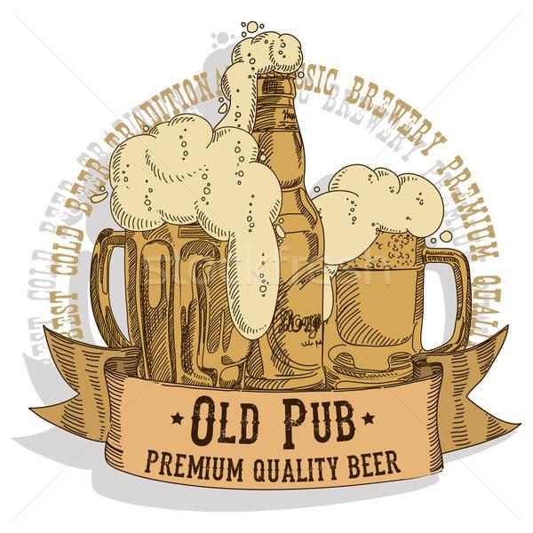 Stockfoto: Bier · ontwerp · folders · traditioneel · oktoberfest