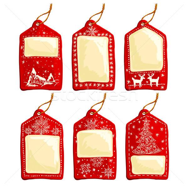 Stock photo: set of christmas tags