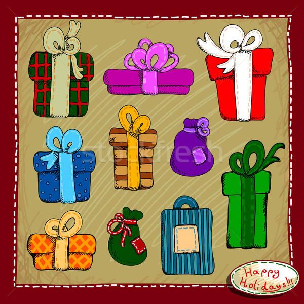 セット 休日 贈り物 ボックス 装飾された ストックフォト © Aqua