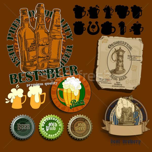 Foto stock: Conjunto · cerveja · elementos · diferente · assinar · bar