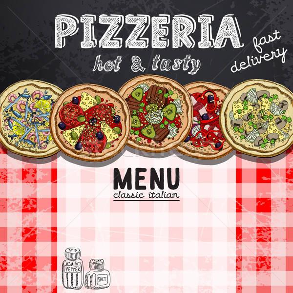Menu ontwerp pizzeria patroon foto's verschillend Stockfoto © Aqua