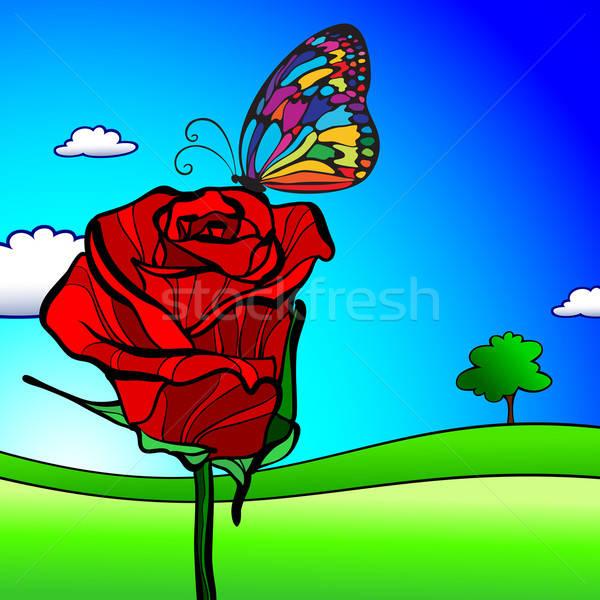 フローラル 赤いバラ 空 バラ 自然 庭園 ストックフォト © Aqua