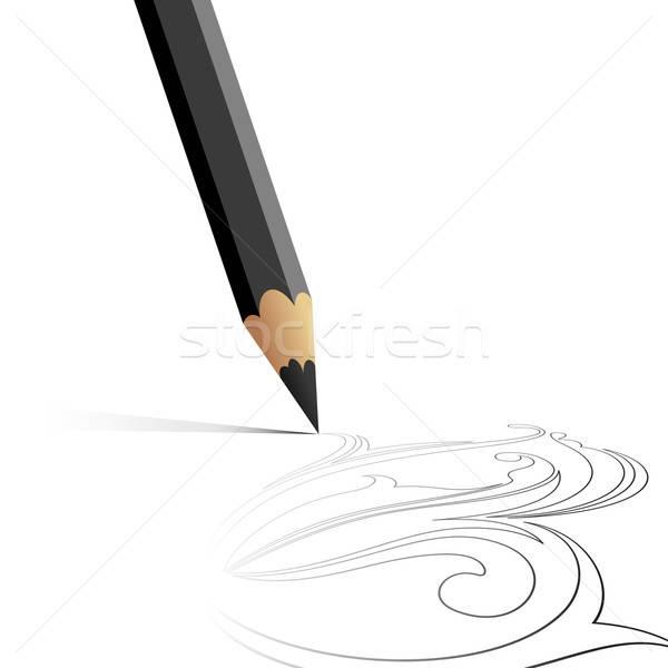 Lápis ilustração útil estilista trabalhar escritório Foto stock © Aqua