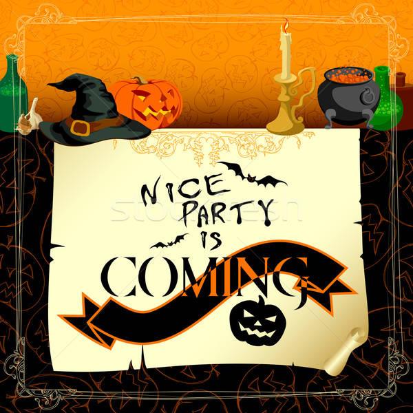 Halloween hagyományos szimbólumok absztrakt macska terv Stock fotó © Aqua