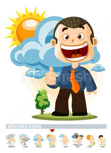 Bewolkt weer icon mensen illustratie gedetailleerd Stockfoto © araga