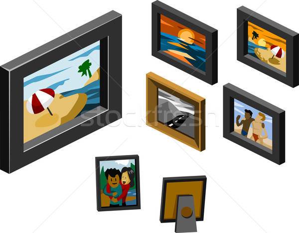 Set of Frame Isometric Stock photo © araga