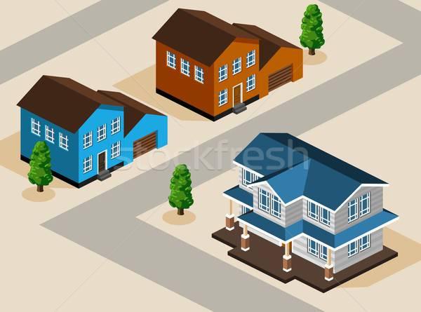 Huis isometrische gedetailleerd gebouw vector werk Stockfoto © araga