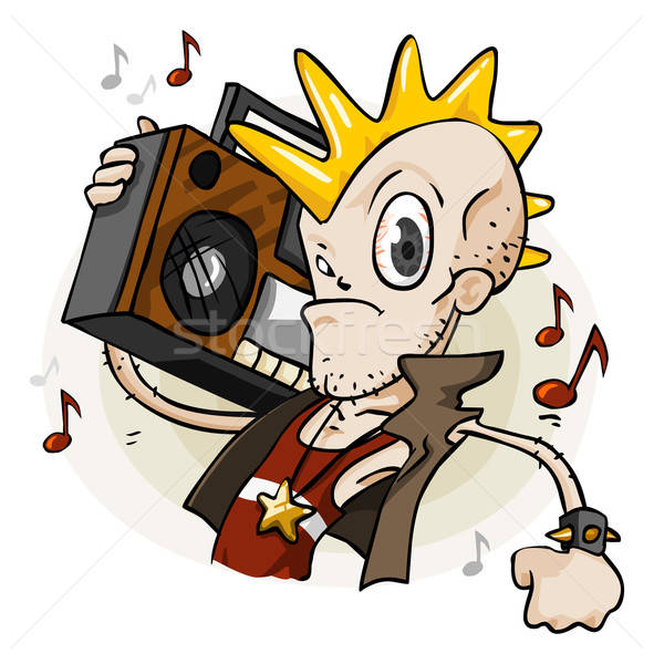 Punk with Stereo. Cartoon Series Stock photo © araga