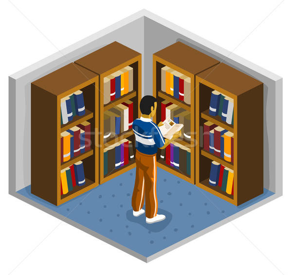 Reading on Library in a college Stock photo © araga