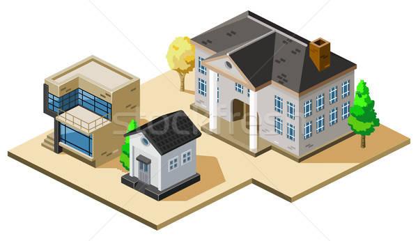 Huizen isometrische eigen wereld boom home Stockfoto © araga