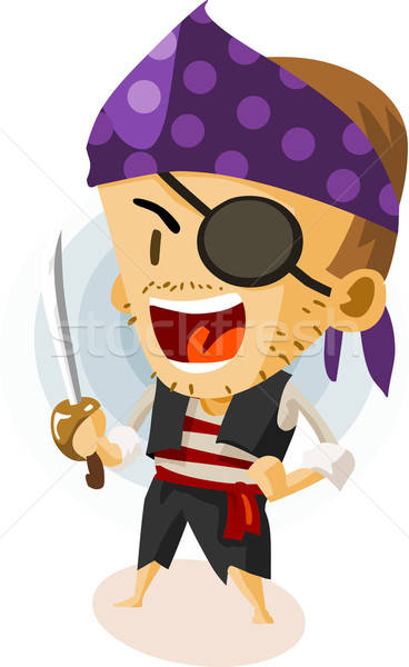Kid spelen piraat kleurrijk gedetailleerd gelukkig Stockfoto © araga