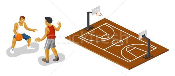 Stockfoto: Basketbalveld · isometrische · eigen · wereld · sport · bal