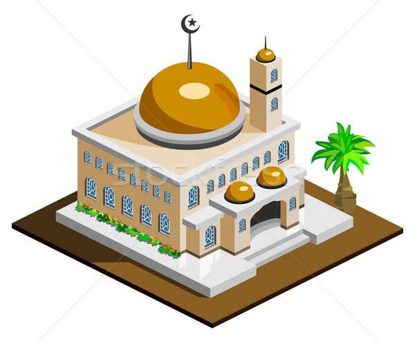 Moskee isometrische eigen wereld woestijn bidden Stockfoto © araga
