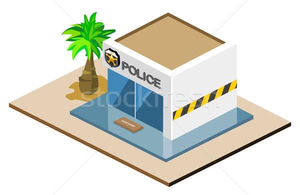 Politie station isometrische eigen wereld Stockfoto © araga