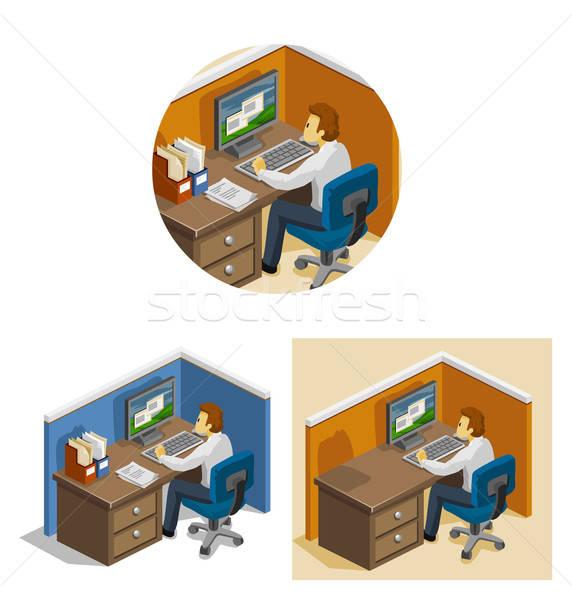 Werken computer isometrische eigen wereld Stockfoto © araga