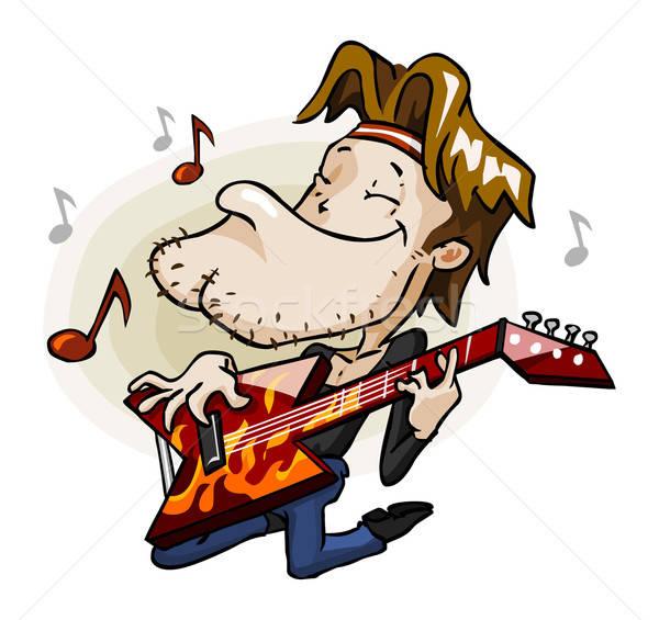 Kaya gitarist sahne ayrıntılı karikatür vektör Stok fotoğraf © araga