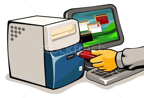 Computer flash drive grafische illustratie vector business Stockfoto © araga